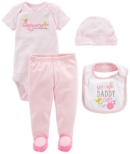 Simple Joys by Carter's Baby Girls' 4-Piece Bodysuit, Pant, Bib and Cap Set, Pink Daddy Loves Me
