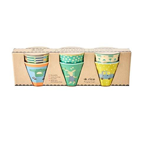 Becherset Kinder, 6er Set in Geschenkbox, Muster Green Bunny Print, Bechergröße 7,5x7,5 cm