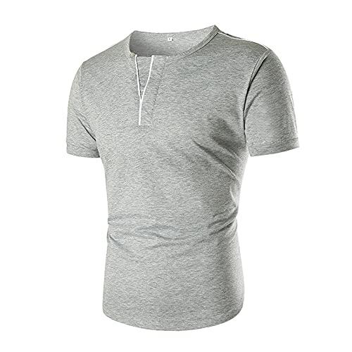 SSBZYES Camiseta para Hombre Camiseta De Verano con Cuello En V para Hombre Escote para Hombre Camiseta con Decoración De Botón con Cuello En V Falso Camiseta Informal para Hombre