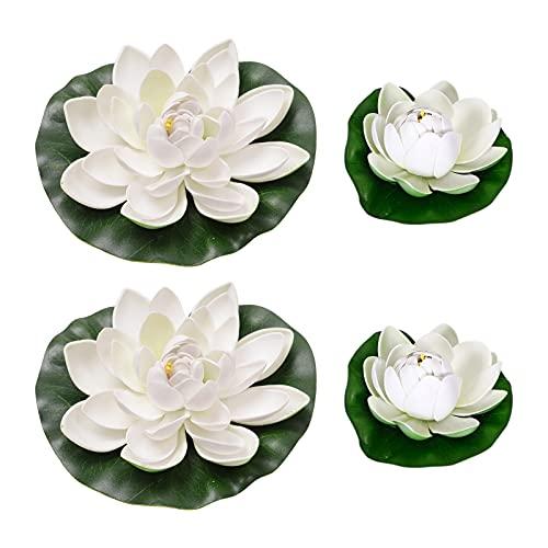 Gkdki Galleggiante Fiore di Loto, Fiore di Loto Artificiale, Fiore di loto impermeabile bianco da 4 pezzi per la decorazione di acquari con fontana di laghetto da giardino