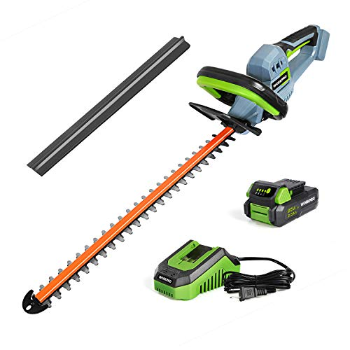 WORKPRO 20V Cordless Hedge Trimmer, 20' Dual Action Blades Electric Gardening Tool, 2.0Ah Battery and 1 Hour Quick Charger Included