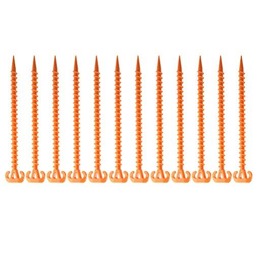 Abaodam 12 estacas de plástico espiral para tienda de campaña de 28 cm a prueba de viento para tienda de campaña