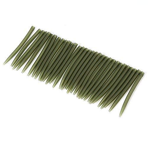 Alomejor 30 Stück/Tasche 51 mm Anti Tangle Sleeves Sicherheit Blei Clips Soft Tail Gummi Schnellwechsel Wirbel für Angelzubehör Hülsen (dunkelgrün)