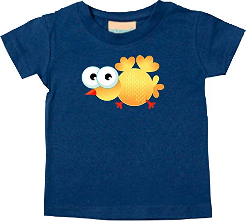 Shirtstown Bebé Kids-T, Pájaro Gorrión Bird Animales Animal Natural - Azul Marino, 36-48 Monate