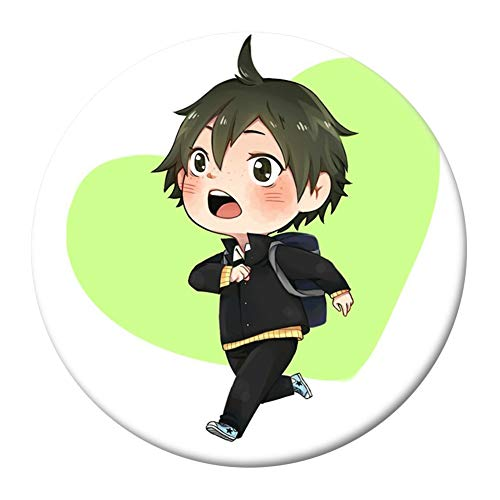 SGOT Anime Haikyuu Brosche Pins, Button Badges Metall, Schüchtern Version Sammlung Abzeichen, für Kleidung Rucksack Federmäppchen 5,8cm(H08)
