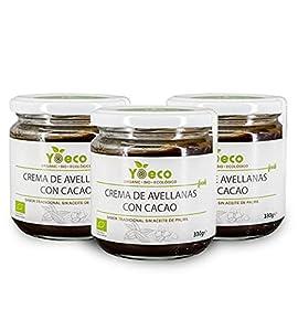 Crema de avellanas con cacao ecológica. Sin aceite de palma. Excelente sabor tradicional Pack de 3x330g.