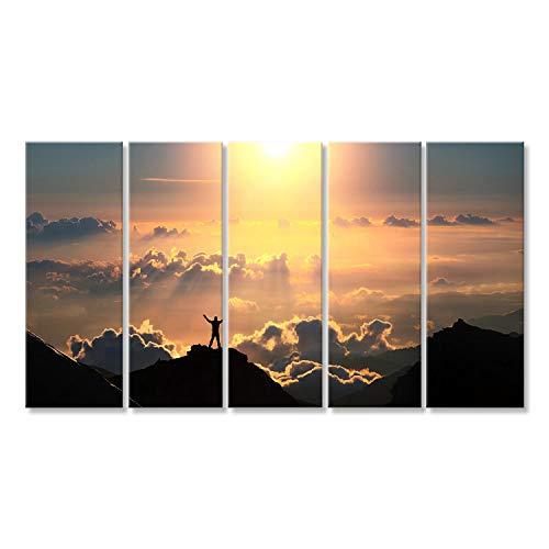 islandburner Bild Bilder auf Leinwand EIN Mann Steht auf dem Gipfel des Berges über den Wolken Wandbild Leinwandbild Poster