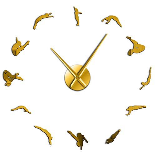 Arte de Pared de Deportes de Buceo de Alta decoración del hogar Reloj Reloj de Buceo Silueta Pegatinas de Bricolaje sin Marco Reloj de Pared Grande Regalo de Buzos