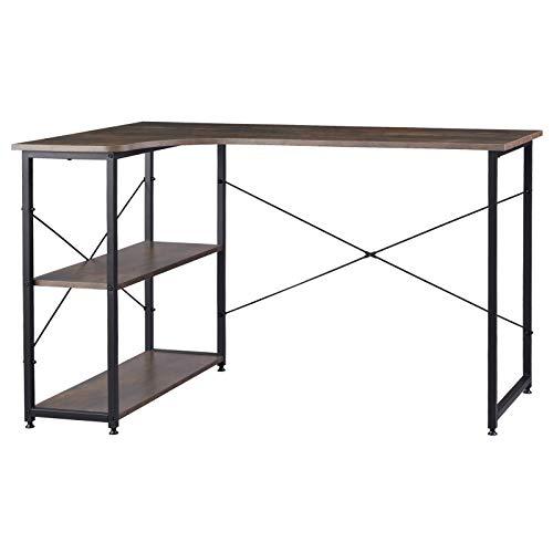 WOLTU TSB34srs Schreibtisch Computertisch Büromöbel PC Tisch Bürotisch Arbeitstisch aus Holz und Stahl, mit Ablage, ca 120x74x71,5 cm Schwarz+Rostfarbe