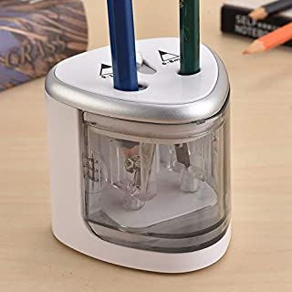 SGJFZD Office School Stationery Battery Operated Dual Slots Electric Colored Pencil Sharpener Random Color Delivery