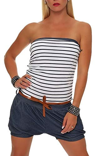 Malito Damen Einteiler kurz im Marine Design | Overall mit Gürtel | Jumpsuit im Jeans Look | Romper - Playsuit 9646 (weiß)