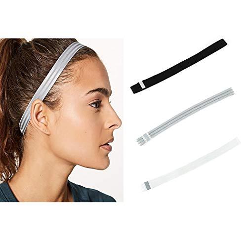 Brishow elastisches Fitness-Stirnband für Laufen, Radfahren, Yoga, rutschfest, feuchtigkeitsableitend, Haar-Accessoires, für Damen und Herren, 3er-Pack (schwarz & weiß & grau)