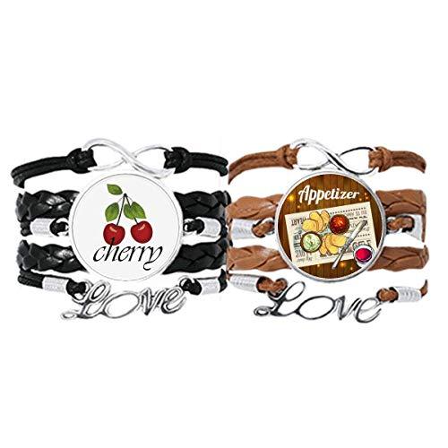 Bestchong Armband für Vorspeisen, Brot, Wein, Lederseil, Kirsche, Liebesarmband, Doppel-Set