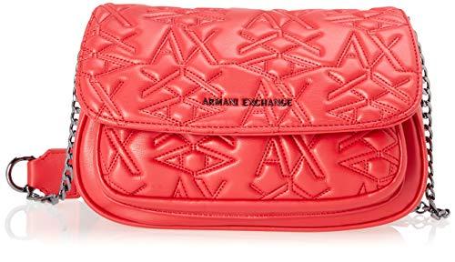 Armani Exchange A|X Damen Flap Over Crossbody Bag Umhängetasche, rot, Einheitsgröße