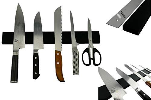 Exclusive Chefs Edelstahl Magnetleiste mit Silikon Kratz Schutz für Messer extra Stark 40cm schwarz magnetisch Messerhalter Wandmontage