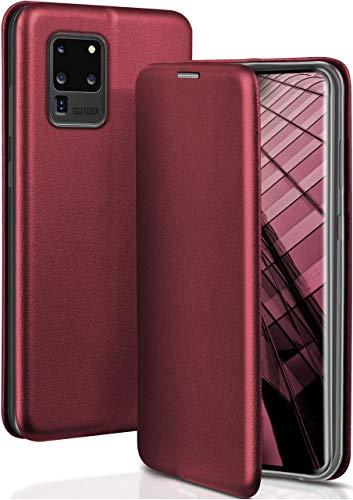 ONEFLOW Handyhülle kompatibel mit Samsung Galaxy S20 Ultra / 5G - Hülle klappbar, Handytasche mit Kartenfach, Flip Hülle Call Funktion, Klapphülle in Leder Optik, Weinrot