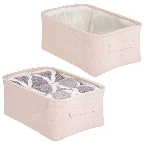 mDesign panier rangement tissu avec revêtement interne et design structuré (lot de 2) – rangement maquillage idéal – boite de rangement pratique en coton avec poignée – rose clair