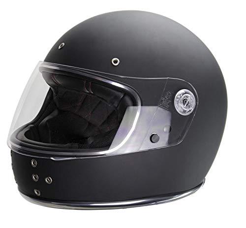El Canalla by Iguana Custom Collection, nero lucido, casco integrale per motocicli estetici retrò, perfetto per cafe racer, bobber, chopper o motociclette classiche. (S)