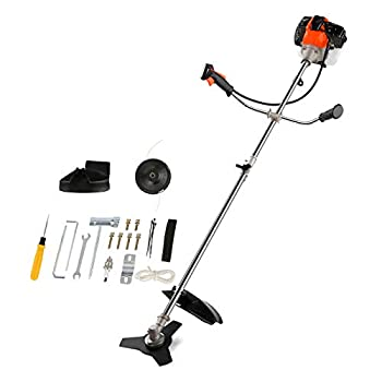 COOCHEER 42.7cc Weed Eater Gas Powered 2-in-1 Brush Cutter Weed Wacker Straight Shaft String Trimmer with 2 Detachable Head for Lawn,Grass,Weed Orange