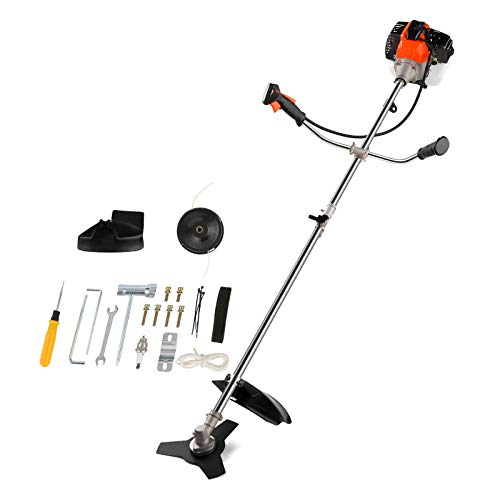 COOCHEER 42.7cc Weed Eater Gas Powered Weed Wacker 2-in-1 Straight Shaft String Trimmer Brush Cutter with 2 Detachable Head for Grass,Weed(Orange)