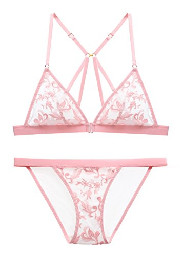 The victory of cupid Womens Embroidered Flower Sponge Cushion Front Buckle Bra Set Underwear Teddy Babydoll Bralette Pink