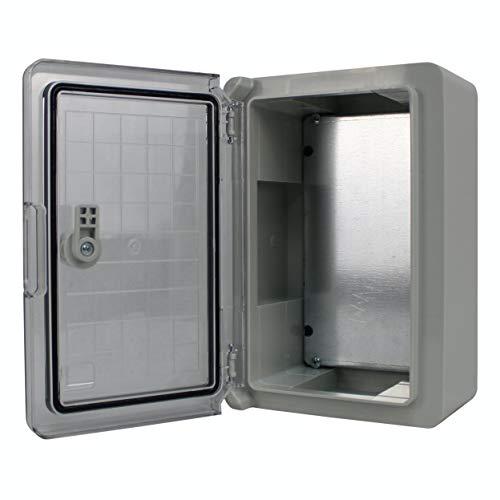 Schaltschrank IP65 Industriegehäuse verzinkter Montageplatte Verriegelung Tür mit umlaufender Dichtung Gehäuse Leergehäuse ABS Kunststoff Schrank (200x300x130mm mit Sichttür)
