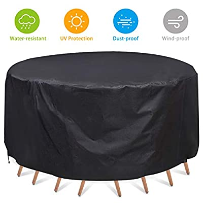 NASUM Patio Furniture Covers, Waterproof Round Patio Table & Chair Set Cover, 60 x 23 Inches, Heavy Duty and UV Resistant Outdoor Furniture Cover.