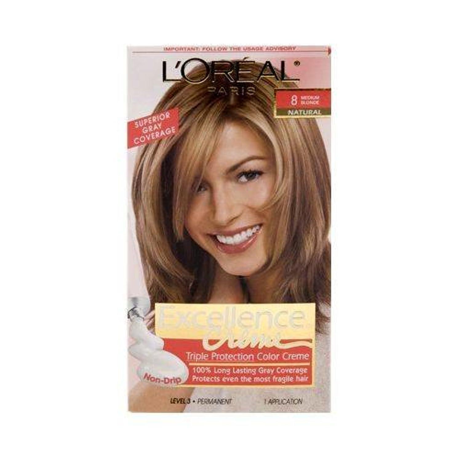 L'Oréal Paris Excellence Créme Permanent Hair Color, 8 Medium Blonde, 1 kit 100% Gray Coverage Hair Dye