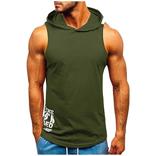DNOQN Männer Fitness Muskel Drucken Ärmellos Mit Kapuze Bodybuilding Dicht Trocknende Tops