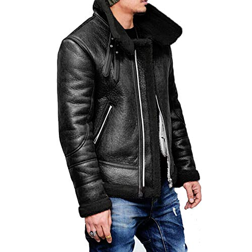 Mens Pea Coat Slim Fit.Men Autumn Winter Highneck Warm Fur Liner Lapel Leather Zipper Outwear Top Coat Black