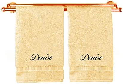 Monogrammed Personalized Name Hand Towels Custom Embroidered Towels Set of Two Tan product image