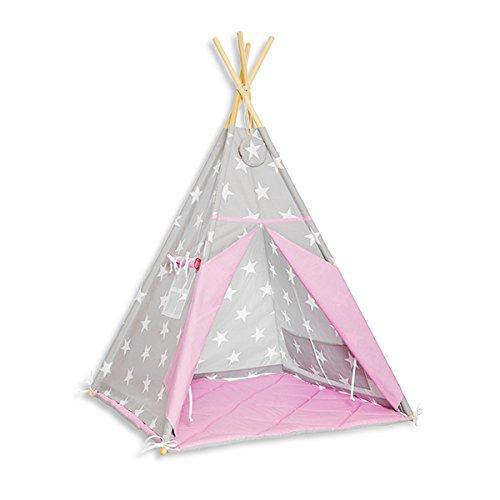 funwithmum Tipi Zelt Für Kinder Tipi Indian Zuhause Garten Bodenmatte 100x100x150 Baumwolle - Candy Star