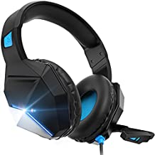 Gaming Headset, Gaming Headphones with Microphone,for PS4,PS5, PC, Xbox One,Switch -Headset with Microphone,Noise Cancelling,LED,Soft Earmuffs,Surround Sound, Kids Headphones (Blue) (Blue)