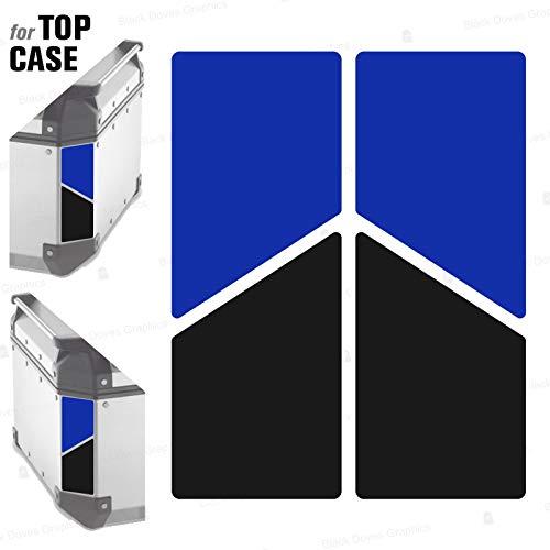 2 adhesivos reflectantes bicolores compatibles con Givi Monokey Trekker Outback Baúl de aluminio Top Case 37 42 48 L (azul-negro)