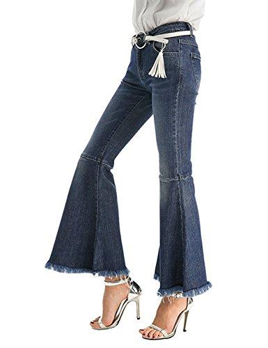 Mena Uk Damen Hohe Taille Breite Beinhosen Damen Slim Fit Bequeme Stretch Ausgestellte Boot Cut Denim Jeans (Farbe : Drak Blue, größe : M)