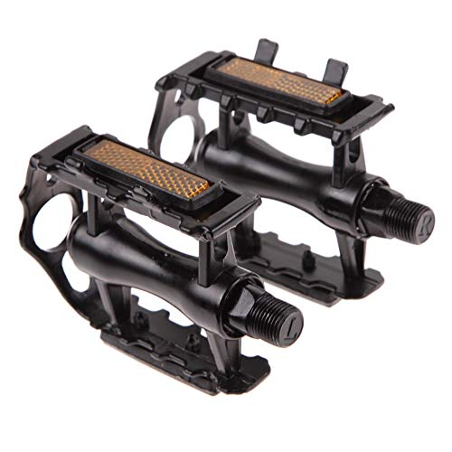 Ziyero 1 Pair Black Plastic Resin Bike Pedals Non-Slip Reflective Sealed Bearing Bicycles Pedal Metal, Durable, for Mountain Bike, Racing Bike, City Bike, Fitness Bike, Touring Bike, Folding Bike etc