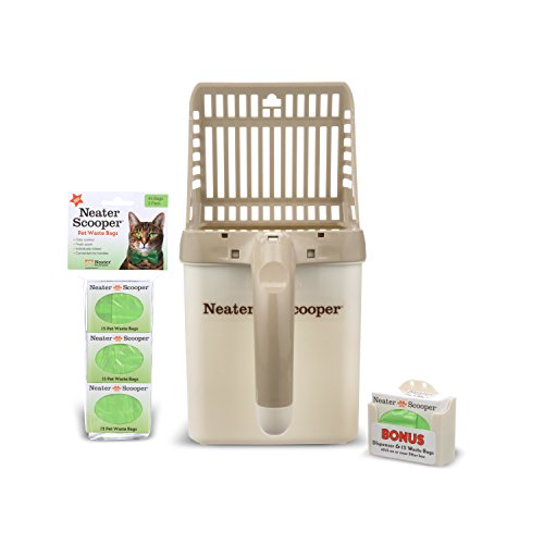 Neater Pet Brands - Neater Scooper Cat Litter Sifter - Includes 60 Refill Bags - Mess Free Cat Litter Scoop to Bag Waste Bin System with Extra Waste Bags (Tan)