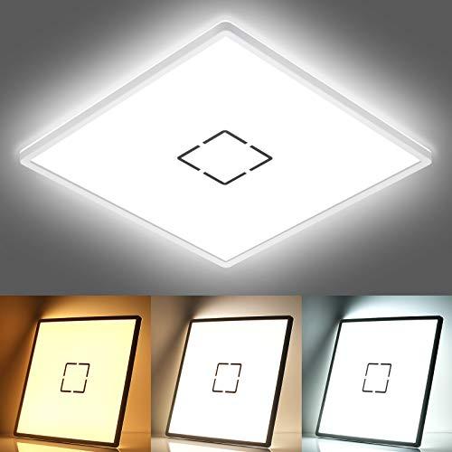 LED Deckenleuchte Bad, 22W 2400LM LED Deckenlampe panel, Farbtemperatur Einstellbar 2700K/4000K/6500K Mit Speicherfunktion, IP44 Badlampe für Büro Schlafzimmer Wohnzimmer Küche Balkon Flur, 42x42cm