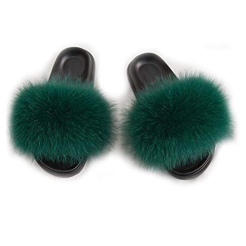 LanXi Damen Flacher Pantoffel-Flipflops Flaumiger Weicher Kunstfell-Beiläufige rutschfeste Schwarze Pantoffeln,Farbe 12,Size EU 35.5