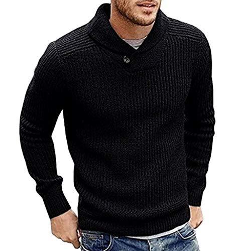 Heren sjaalkraag Slim Fit Gebreide trui truien met lange mouwen Casual truien - Herentrui herfst winter casual gebreide geribde jas onbezorgd L Zwart