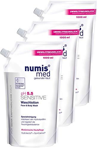 numis med Waschlotion Nachfüllbeutel ph 5.5 SENSITIVE - Körperlotion vegan & seifenfrei - Lotion für sensible, feuchtigkeitsarme & zu Allergien neigende Haut im 3er Pack (3x 1000 ml)