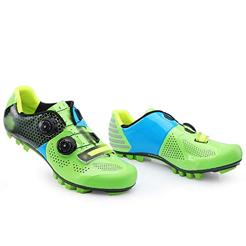 Cleat MTB Cycling Shoes Breathable Non-Slip Mountain Bicycle Shoe Rotating Cycle Lock Shoe with Reflective Strip Carbon Fiber Sole for Unisex (Color : Green, Size : UK11.5/EU45/US12)