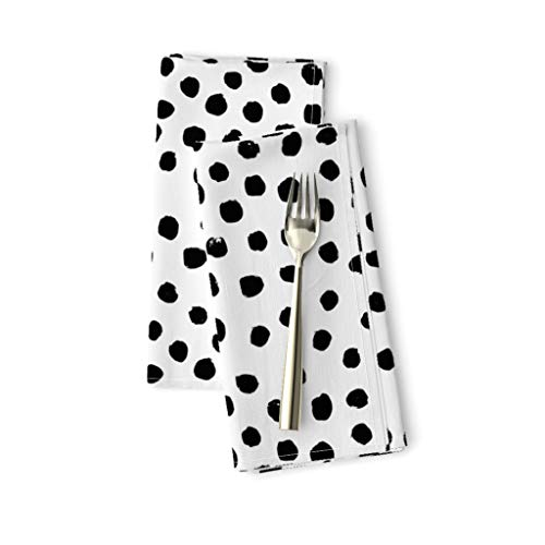 Roostery Cloth Dinner Napkins, Dots Black White Polka Dot Mod Print, Linen-Cotton Canvas Dinner Napkins, 20in x 20in, Set of 2
