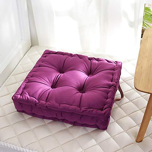 Quadratische Stuhlpads Mit Griff,Extra Dicke Super Weiche Sessel Kissen Langlebig Essstuhl Booster Kissen-Lila 42x42cm