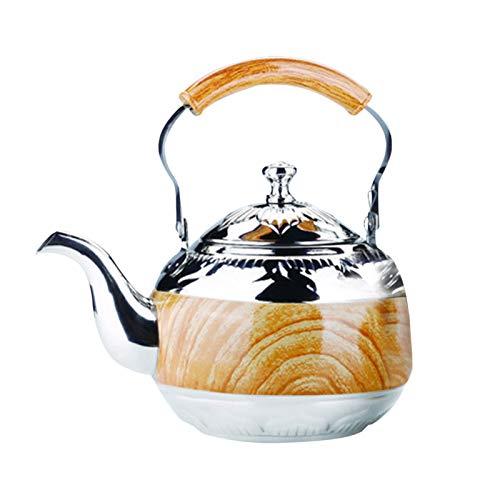LZYANG Tetera De 2 L Pava Inox Con Hervidor De Agua De Calidad Alimentariacon Mango Resistente Al Calor Mango De Madera Tetera Adecuado Para Cocina Inducción De Agua Café (plata)