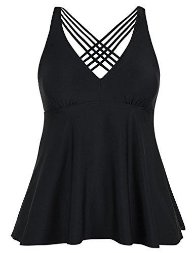 Firpearl Women's Tankini Swimsuits Cross Back Flowy Swim Tops Modest Swimwear US20 Black