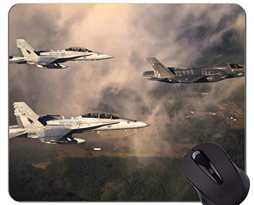 Gaming Mouse Mat,Jet Fighter Sky Clouds Non-Slip Rubber Base Mousepad