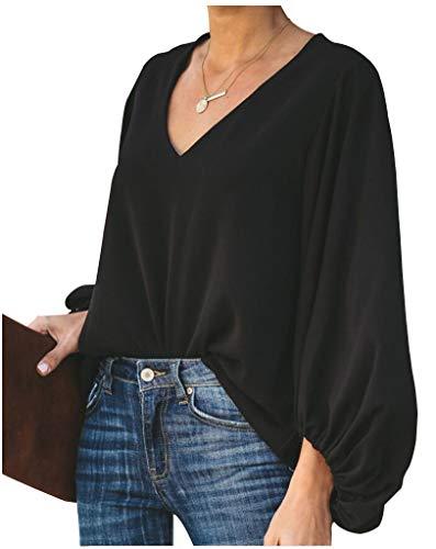 Botanmu Tamaño Extra Suelto de Mujer Camiseta de Manga Larga de Gasa Blusa de Manga Larga Blusas de Gasa Camiseta 4 Colores
