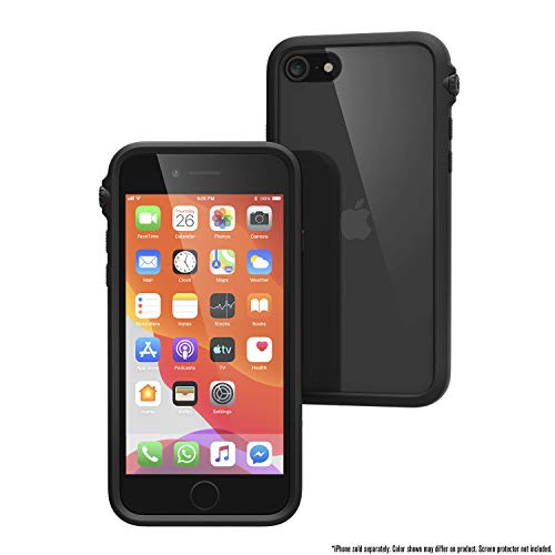 Catalyst Impact Case for iPhone SE 2020, Compatible with iPhone 8/7, Wrist Strap Lanyard Included, Wireless Charging, Drop Protection, Rotating Mute Switch - Stealth Black