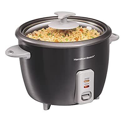 Hamilton Beach Rice Cooker & Food Steamer, 16 Cups Cooked (8 Uncooked), With Steam & Rinse Basket, Black (37517)